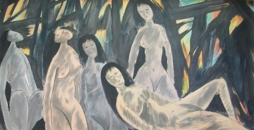 nude naked body Painting - five naked ladies old China ink